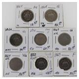 (8) 1866-1867-1868 US Shield Nickels