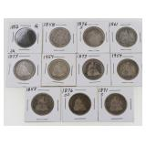(11) Seated Liberty Quarters 1853-1891