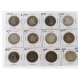 (12) Seated Liberty Quarters 1853-1891