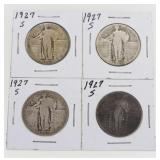 (4) 1927-S Standing Liberty Quarters