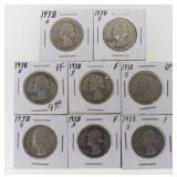 (8) 1938-S Washington Quarters