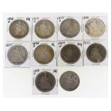 (10) US Seated Liberty Half-Dollars 1846-1876