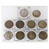 (10) Silver Mexico 8 Reales Coins 1838-1892