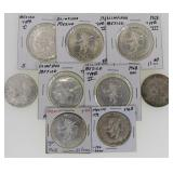 (9) 1968 .720 Silver Mexico 25 Peso Olympic Coins