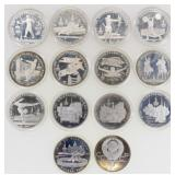 (14)  Russia 1980 Olympics 5 Roubles Silver Coins