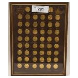 50 States Counter Stamped Gold Plated Penny Frame