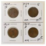 (4) 1924-D Wheat Cents