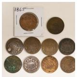 (10) US Two Cent Pieces1864-1869