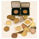 (34) Mixed Bronze & Brass Medals & Tokens