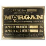 Vintage Morgan Crane Sign / Steel Mill / Measures