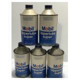 (5) Mobil Oil Upperlube Super 12 Oz Cone Top Oil