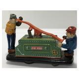 Vintage Tin Litho Wind Up Railroad Hand Car