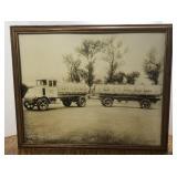 Large Vintage Shell Mack Tanker Truck Framed