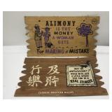 (2) Vintage Novelty Sign / Postcard  Measures