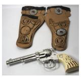 Vintage Daisy Cap Gun With Leather Holsters