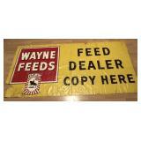 Giant Vintage Wayne Feeds Cloth Advertisng Banner