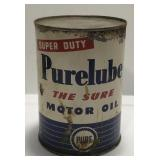 Vintage Purelube Motor Oil One Quart Can