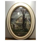 Antique Framed Painting  Measures approximately