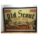 Framed Old Scott Lager Beer Picture Behind