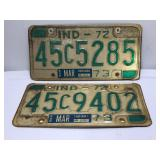 (2) 1972 Indiana License Plate Sold times the