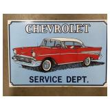 Tin Chevrolet Service Department Advertising Sign