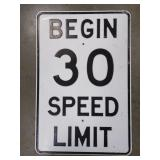 Large Vintage Heavy Metal Embossed Speed Limit