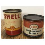 (2) Vintage 1 Pound Grease Oil Can / Shell