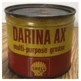 Vintage Shell Darina Ax 1 Pound Grease Oil Can