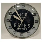 Vintage Elgin Watches Glass Advertising PAM Clock