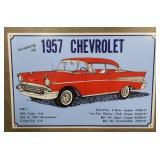 Tin 1957 Chevrolet Advertising Sign  Measures