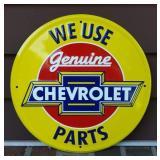 Embossed Tin Chevrolet GENUINE Parts Advertising