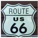 Route 66 Embossed Tin Shield Sign Measures