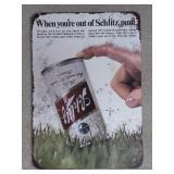 Schlitz Beer Tin Advertising Sign  Measures
