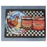 Chicken Chowder Tin Advertising Sign  Measures