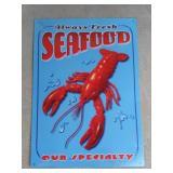 Fresh Seafood Tin Advertising Sign  Measures