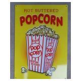 Popcorn Tin Advertising Sign  Measures