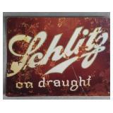 Schlitz On Draught Tin Advertising Sign