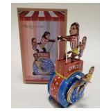 Tin Windup Monkey Rides Circus Wheel Toy