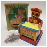 Tin Battery Operated Japan Teddy the Artist.
