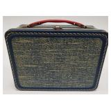 Vintage Thermos Blue Luggage Metal Lunch Box.