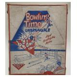 Vintage Bowling Time Game. With pins and bowling