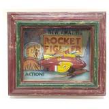 Tin Atomic Rocket Fighter with Display Case