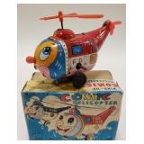 T.N Japan Tin Wind-Up Comic Helicopter
