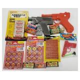 Lot of Roll Caps, Paper Gun, Squirt Gun, Dart