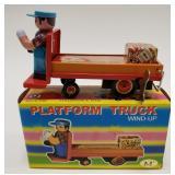Metal King Tin Windup Platform Truck