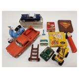 Lot of vintage toys including spiderman wallet,