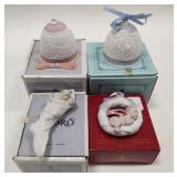 (4) Lladro Christmas Bells & Ornaments NIB