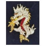 Signed Swarovski Crystal Fire Dragon Pin/Brooch