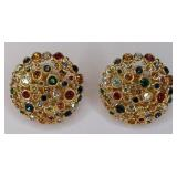 Signed Swarovski Multi-Color Crystal Earrings