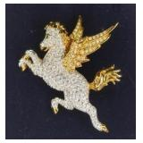 Signed Swarovski Crystal Pegasus Pin Brooch